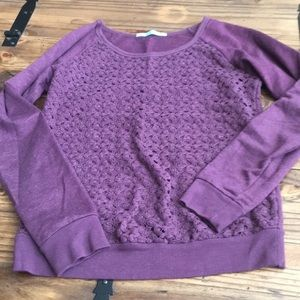 EUC, maroon, embroidered lace long sleeve top